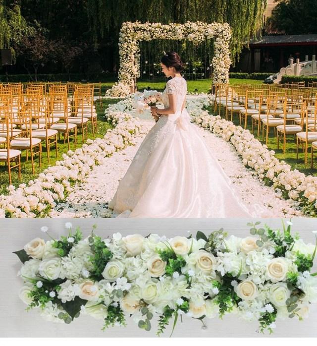Luxury Wedding Decor 2019 1m Luxury Wedding Road Cited Flowers Rose Hydrangea Mix Diy
