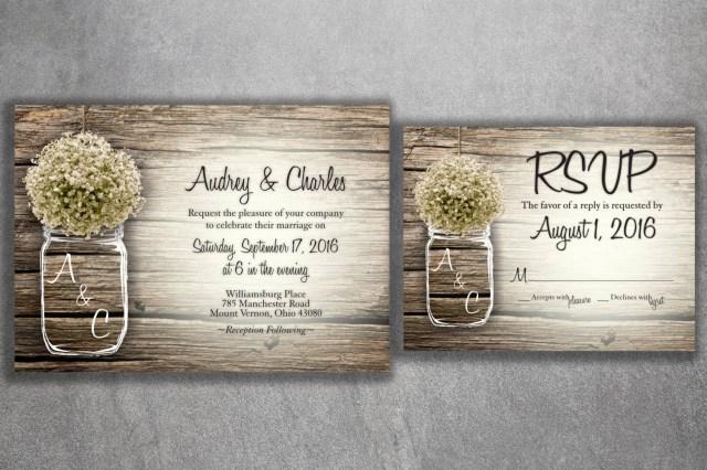 Mason Jar Wedding Invitation Kits Country Wedding Invitation Rustic Wedding Invitations Bas