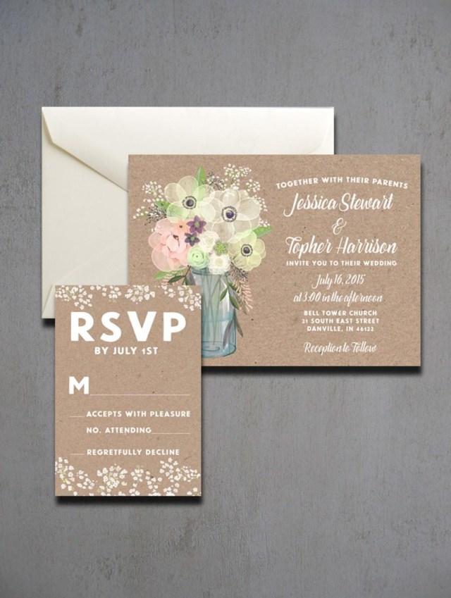 Mason Jar Wedding Invitation Kits Mason Jar Wedding Invitations Watercolor Mason Jar Wedding