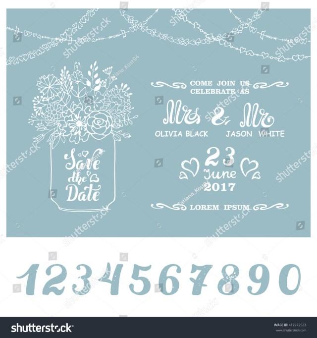 Mason Jar Wedding Invitation Kits Wedding Save Date Wedding Invitation Cards Doodle Stock Vector