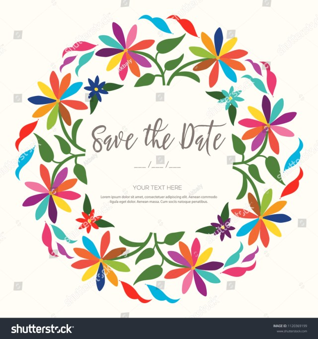 Mexican Wedding Invitations Colorful Mexican Wedding Invitation Textile Embroidery Stock Vector