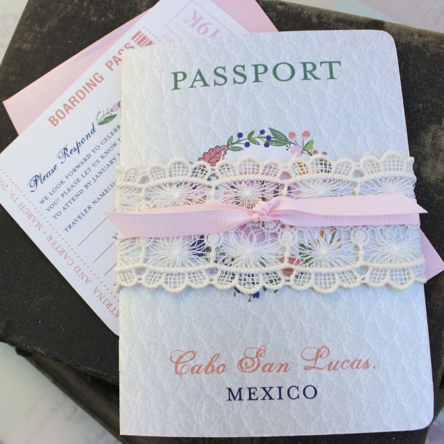 Mexican Wedding Invitations Floral Folk Art Passport Wedding Invitation Cabo San Lucas Mexico