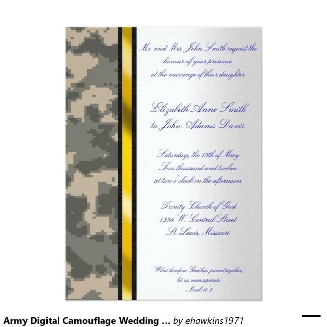Military Wedding Invitations Army Digital Camouflage Wedding Invitation Pinterest Wedding