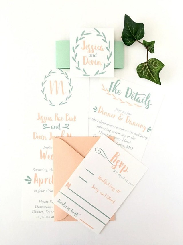 Minted Wedding Invitations Custom Greenery Mint And Peach Wedding Invitation Suite Spring