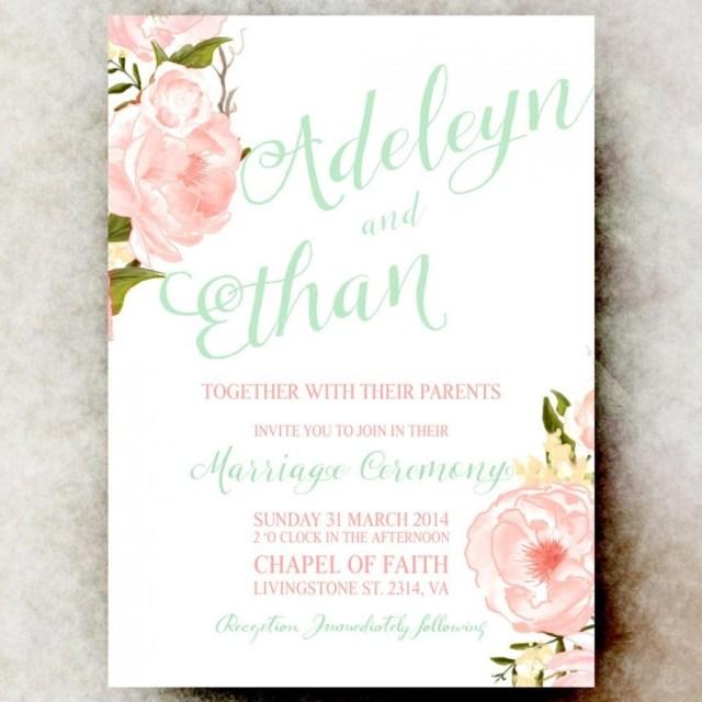 Minted Wedding Invitations Mint Green Coral Wedding Invitation Floral Wedding Invitation
