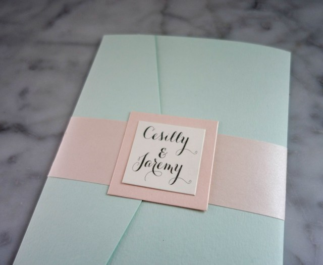 Minted Wedding Invitations Pocketfold Wedding Invitation In Mint Green Ivory Pewter And Soft