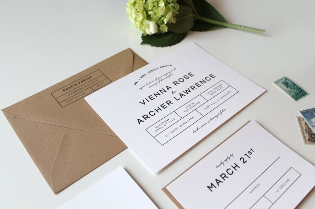 Modern Wedding Invitations Bold Modern Wedding Invitation Suite Tied Two