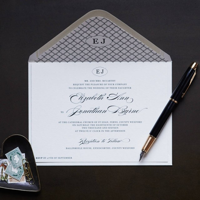 Monogram Wedding Invitations Elegant Monogram Wedding Invitation Appleberry Press