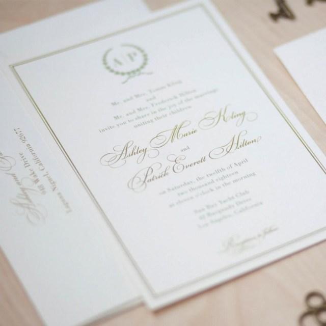 Monogram Wedding Invitations Monogram Wedding Invitation Sage And Gold Invitation Olive Branch