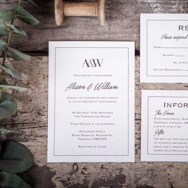 Monogram Wedding Invitations Monogram Wedding Stationery Emmy Designs Notonthehighstreet