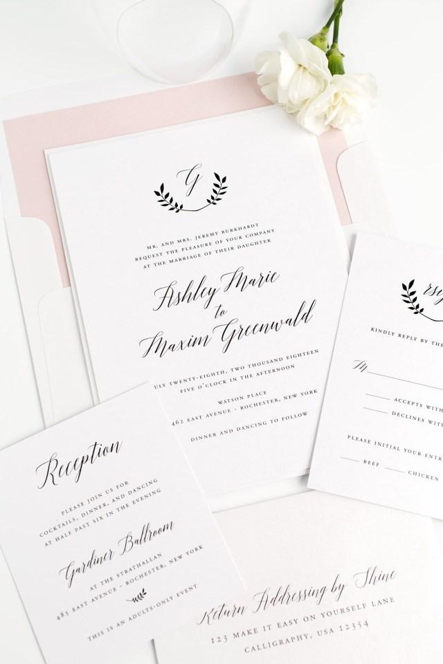 Monogram Wedding Invitations Wreath Monogram Wedding Invitations In Blush Pink Member Board