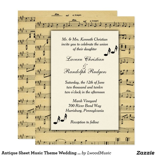 Music Themed Wedding Invitations Antique Sheet Music Theme Wedding Invitation Music Themed Wedding