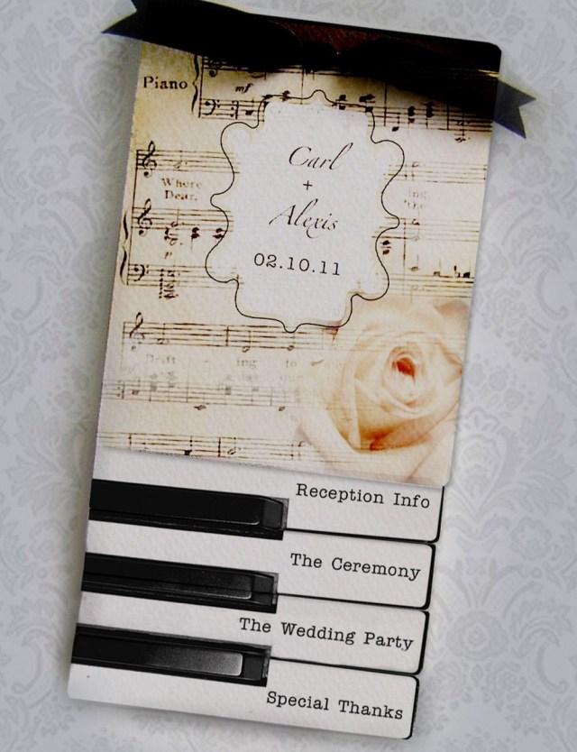 Music Themed Wedding Invitations Layered Wedding Programs Or Invitations Music Vintage Piano