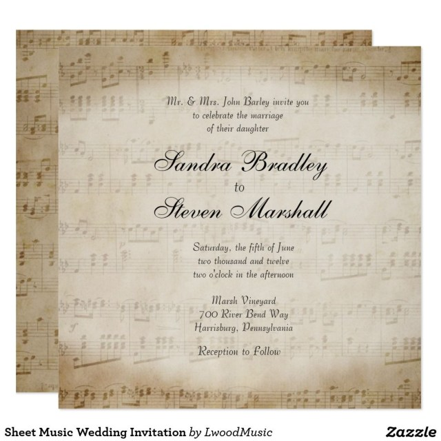 Music Themed Wedding Invitations Sheet Music Wedding Invitation Music Themed Wedding Pinterest