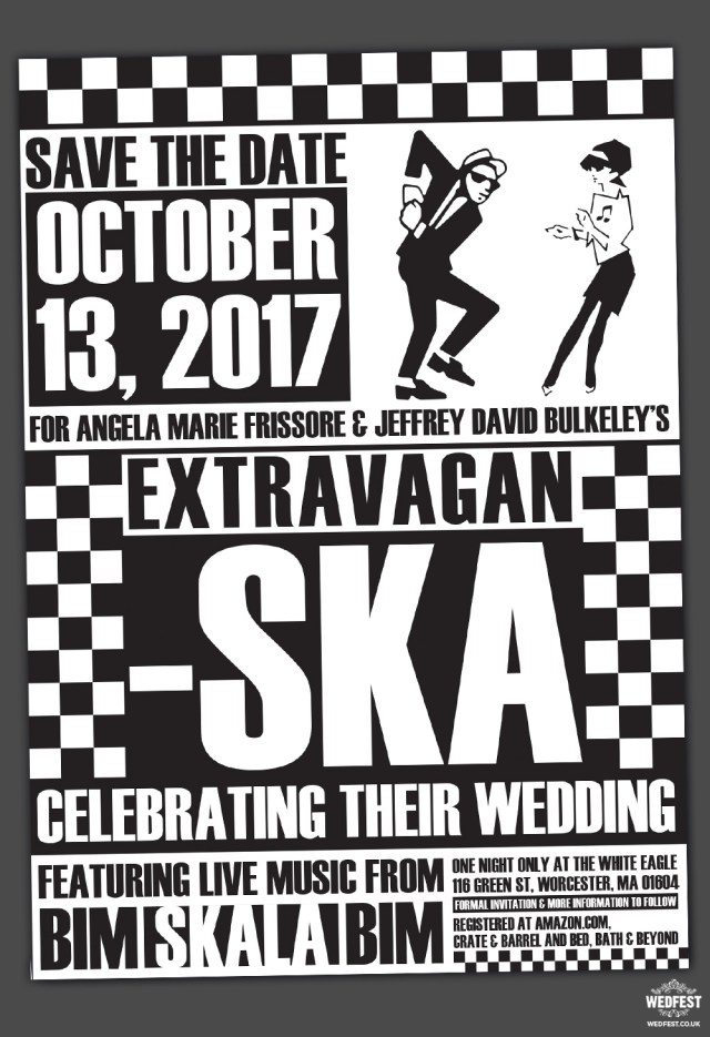 Music Themed Wedding Invitations Ska Music Themed Wedding Save The Date Invitation Wedfest