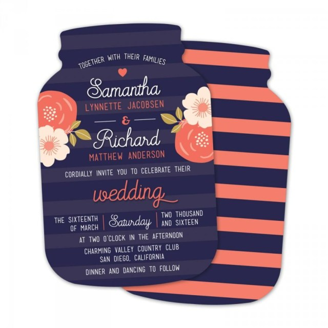Navy And Coral Wedding Invitations 10 Mason Jar Wedding Invitations Mason Jar Shaped Cards Navy And