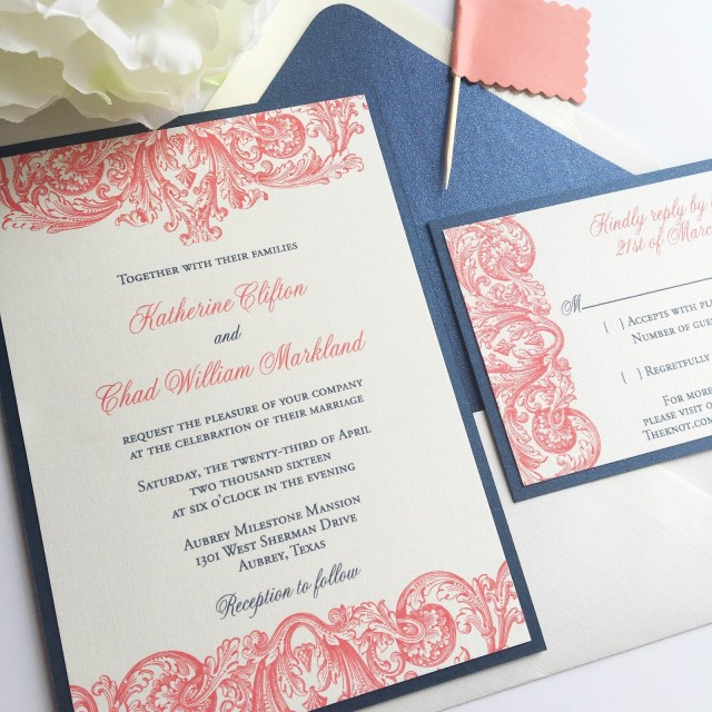 Navy And Coral Wedding Invitations Blush Paperie Navy And Coral Plume Wedding Invitation