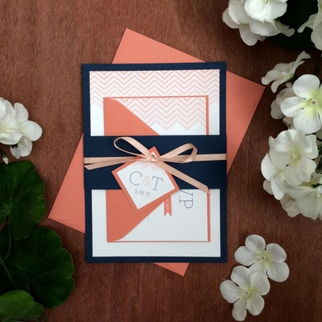 Navy And Coral Wedding Invitations Chevron Wedding Invitation Sample In Coral Navy 2493448 Weddbook