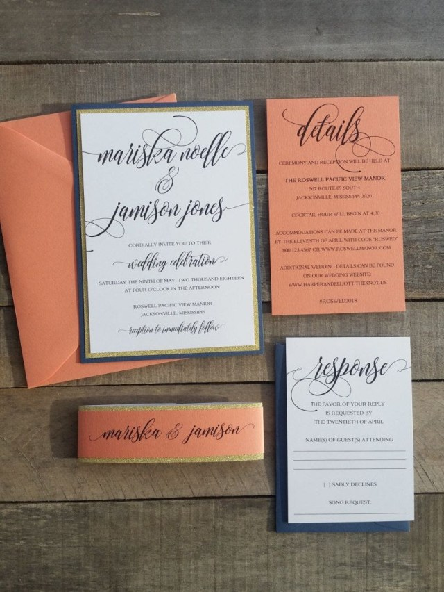 Navy And Coral Wedding Invitations Coral And Glitter Wedding Invitations Mariska Layered Invitation