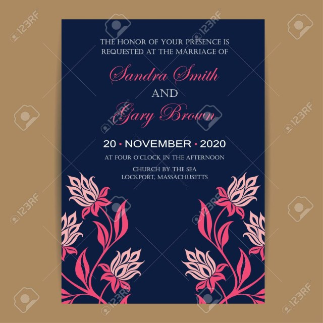 Navy And Coral Wedding Invitations Navy And Coral Wedding Invitation Card Royalty Free Cliparts