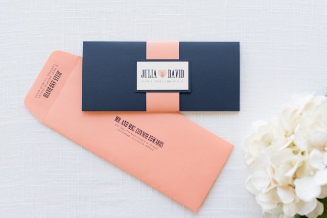 Navy And Coral Wedding Invitations Navy Blue Coral And Ivory Wedding Invitation With Thumbprint Heart