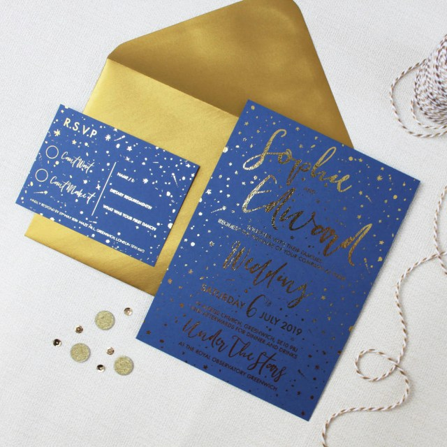 Navy And Gold Wedding Invitations Celestial Wedding Invitations Love Paper Wishes