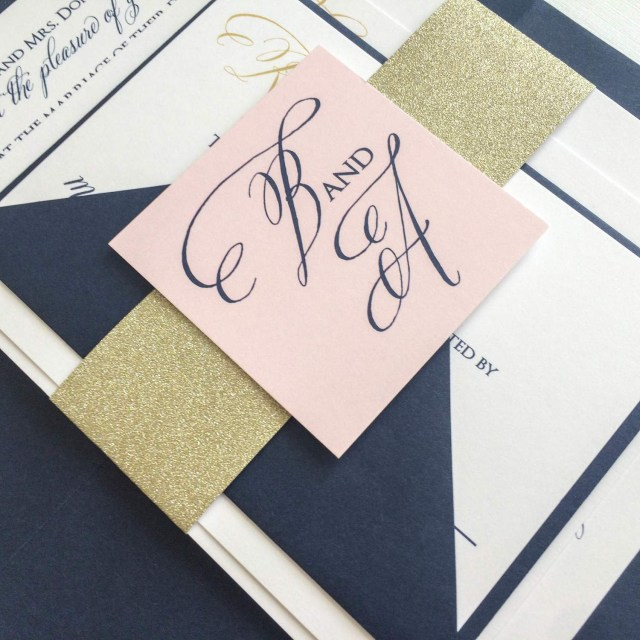 Navy And Gold Wedding Invitations Gold Navy And Blush Wedding Invitation For A Kentucky Bride Meg