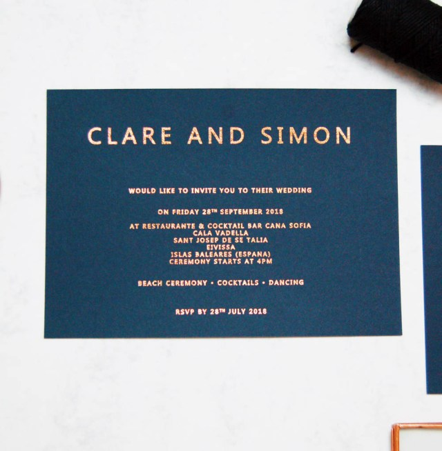 Navy And Gold Wedding Invitations Rose Gold And Navy Copper Foil Wedding Invitation Made With Love