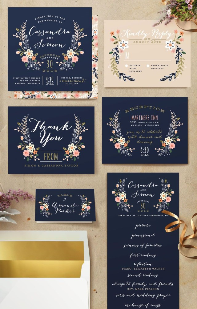 Navy And Gold Wedding Invitations Wildflower Crest My Someday3 Pinterest Wedding Invitations