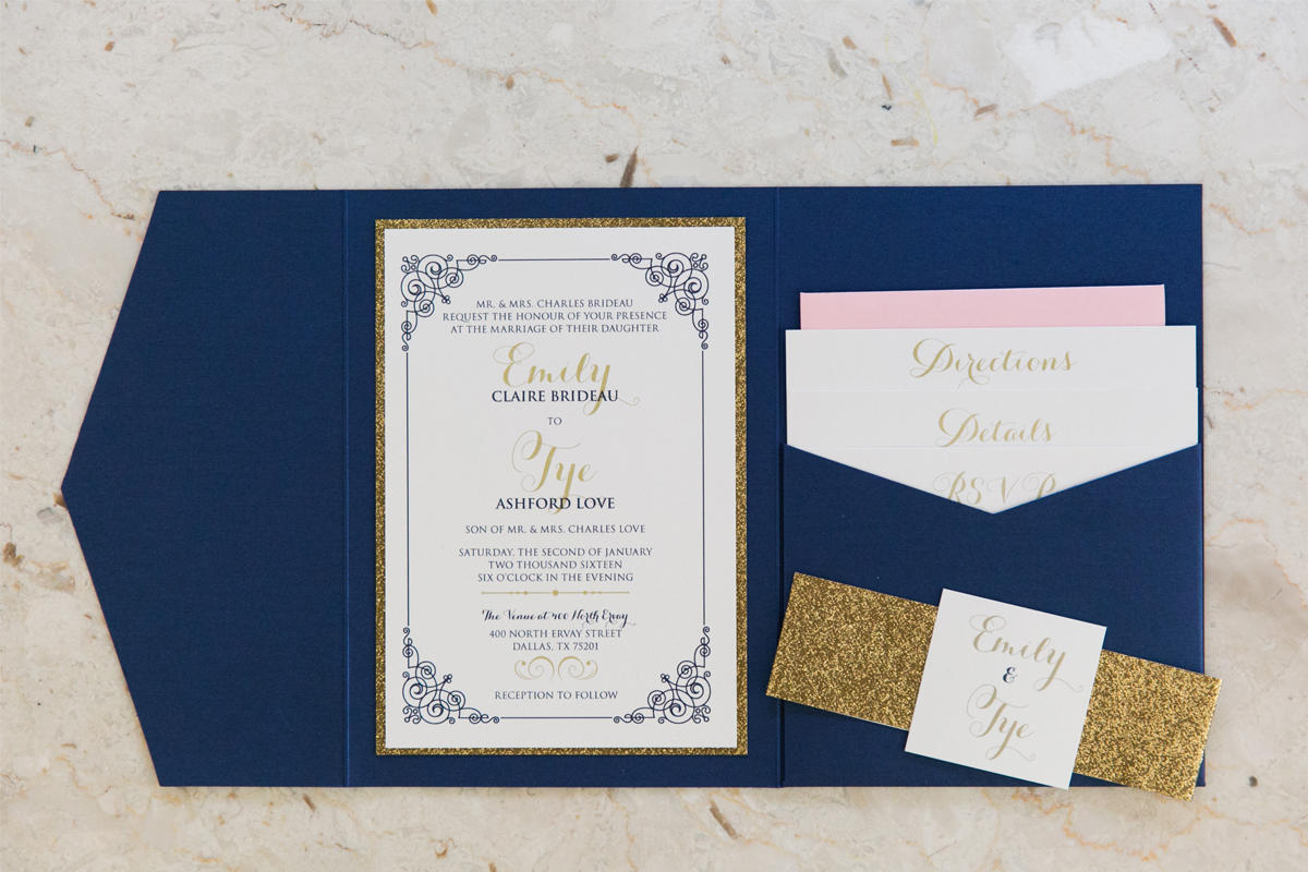 Navy Blue And Gold Wedding Invitations 5x7 Navy Blue Gold Glitter Blush Pocket Wedding Invitation With