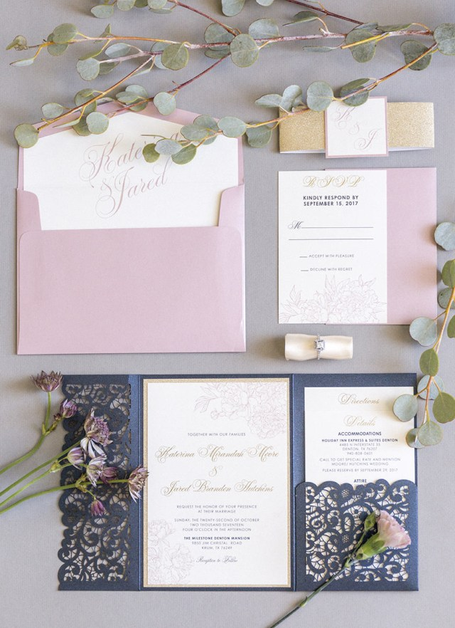 Navy Blue And Gold Wedding Invitations Elegant Formal Navy Blue Gold Glitter And Blush Lace Laser Cut