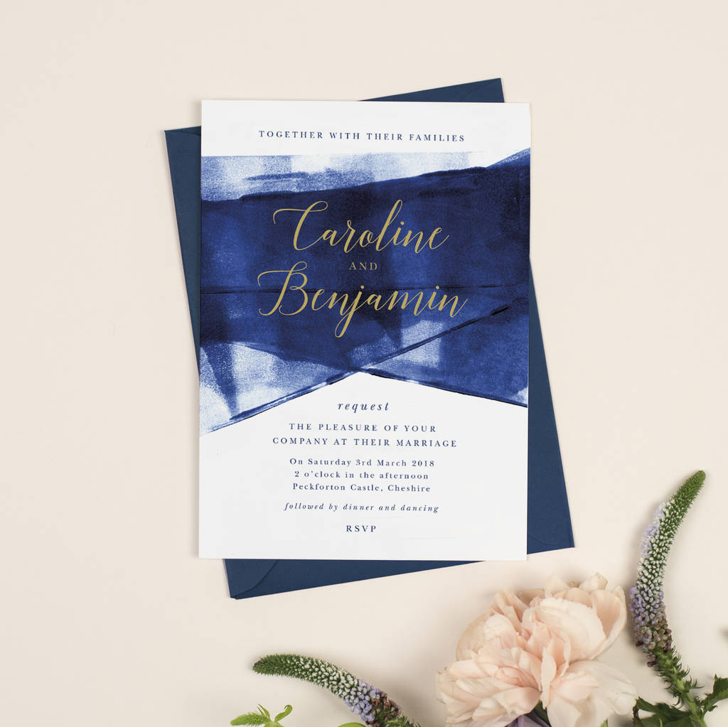 Navy Blue And Gold Wedding Invitations Grace Navy And Gold Wedding Invitations Project Pretty
