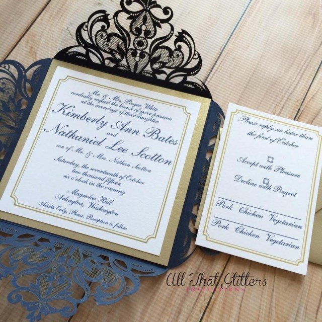 Navy Blue And Gold Wedding Invitations Invitation Laser Cut Wedding Invitation 2470584 Weddbook