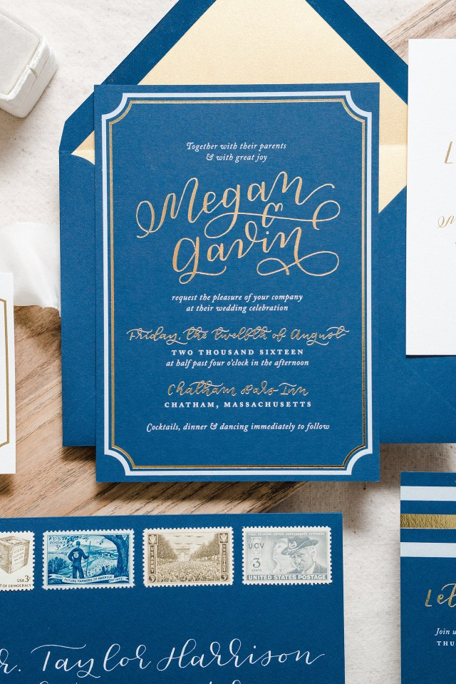 Navy Blue And Gold Wedding Invitations Nautical Navy And Gold Foil Wedding Invitations