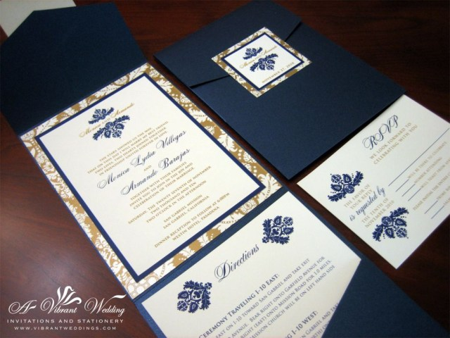 Navy Blue And Gold Wedding Invitations Navy Blue And Gold Wedding Invitation Pockefold Style With Damask