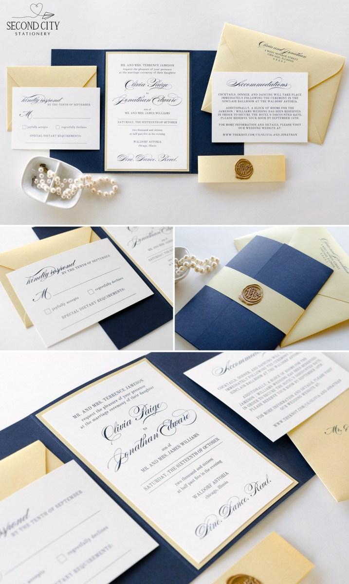 Navy Blue And Gold Wedding Invitations Navy Blue Gold Shimmer And Ivory Wedding Invitation With Gatefold