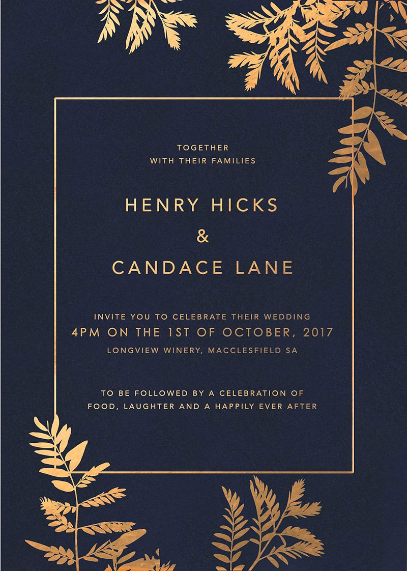 Navy Blue And Gold Wedding Invitations Navy Luscious Fern Foil Wedding Invitations Design Wedding