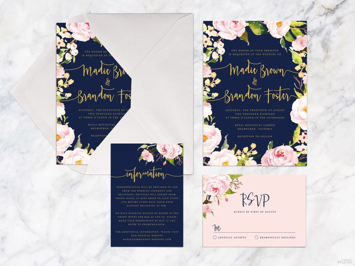 Navy Blue And Gold Wedding Invitations Printable Wedding Invitation Set Rose Pink Navy Gold Wedding