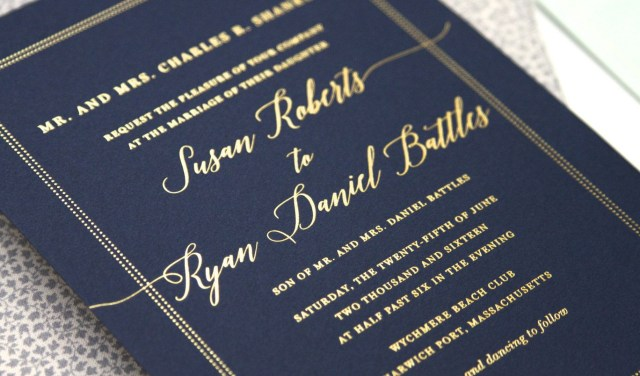 Navy Blue And Gold Wedding Invitations Traditional Gold Foil And Navy Cape Code Wedding Invitation