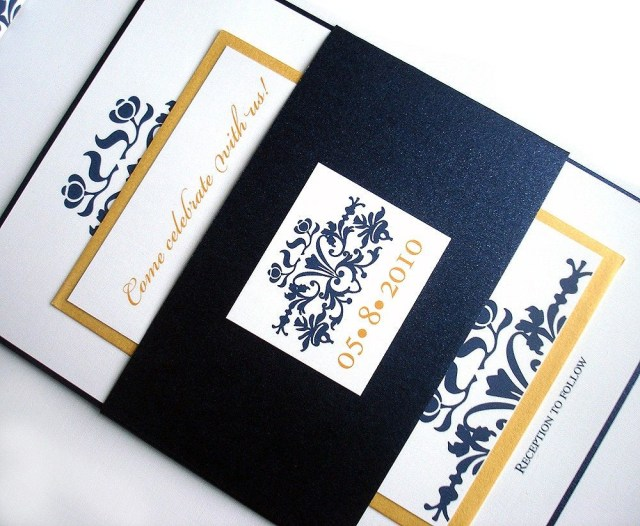Navy Blue And Gold Wedding Invitations Wedding Invitation Brocade Set W Belly Band Metallic Navy Blue