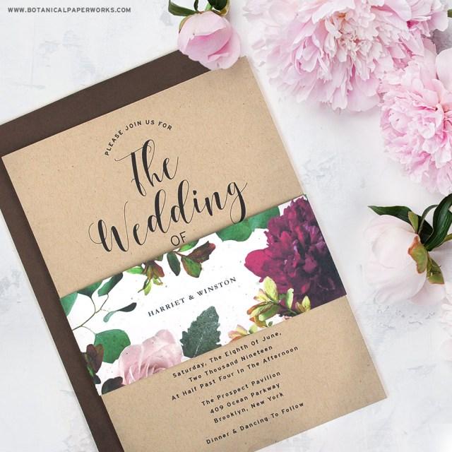 Paper For Wedding Invitations New Kraft Paper Wedding Invitations With Seed Paper Belly Bands