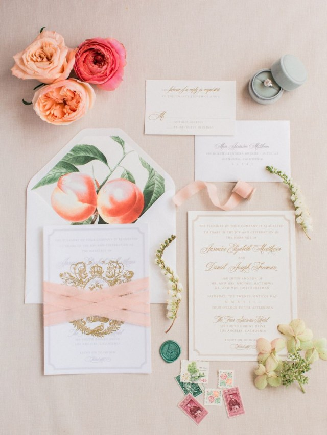 Peach Wedding Invitations A Pretty In Peach Wedding Editorial Inspired The Birth Of Venus