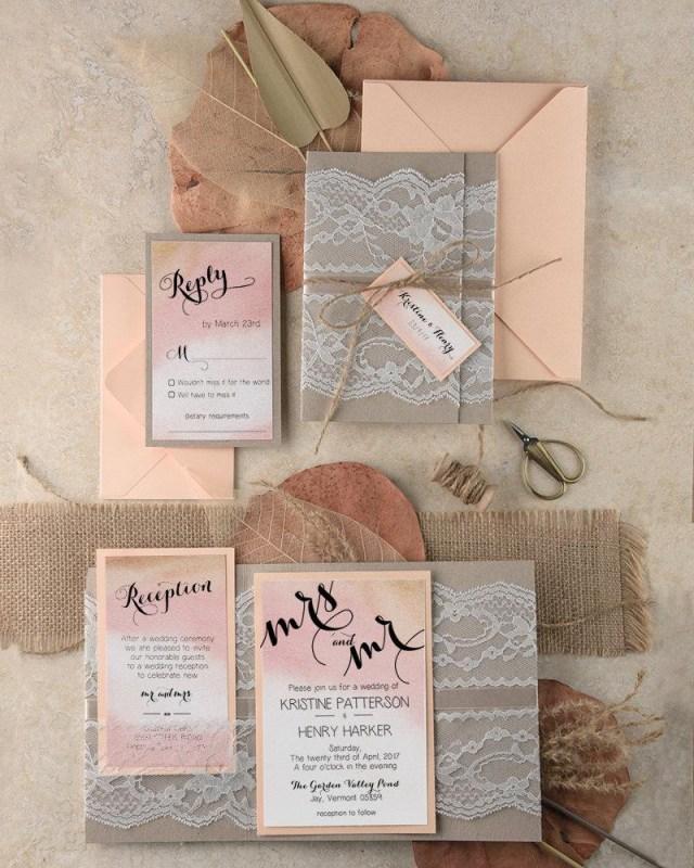 Peach Wedding Invitations Boho Wedding Invitations 20 Ombre Watercolor Wedding Invites