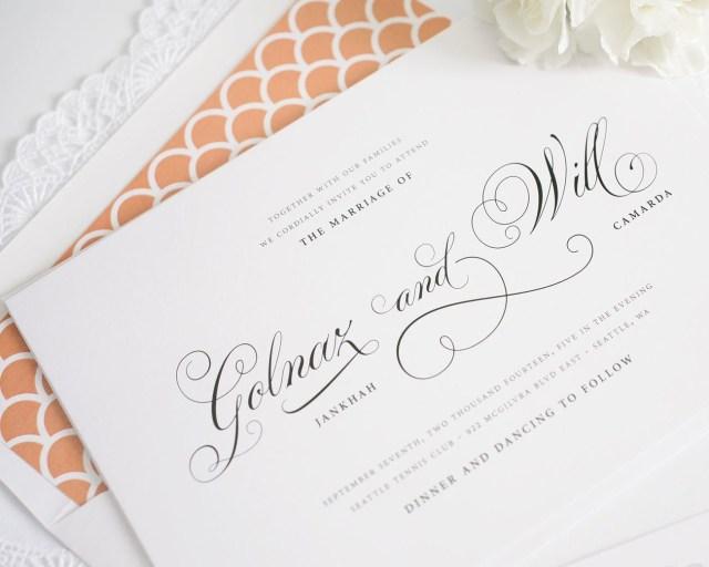 Peach Wedding Invitations Classic Script Wedding Invitations In Peach Wedding Invitations