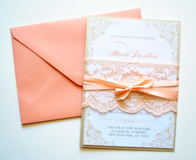 Peach Wedding Invitations Peach Lace Wedding Invitations Rustic Lace Whimsybdesigns 695