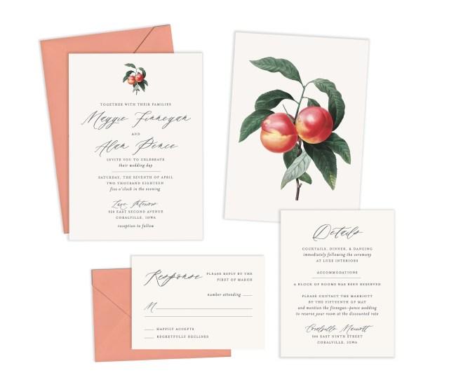Peach Wedding Invitations Peach Wedding Invitation Suite Formal Wedding Invitation Etsy