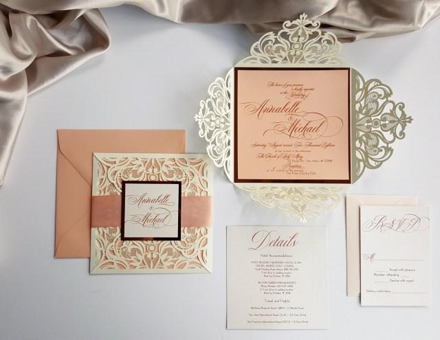 Peach Wedding Invitations Peach Wedding Invitations Laser Cut Customized