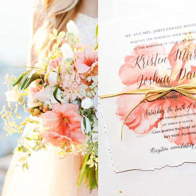 Peach Wedding Invitations Tropical Coral Peach Wedding Inspiration Custom Invitations