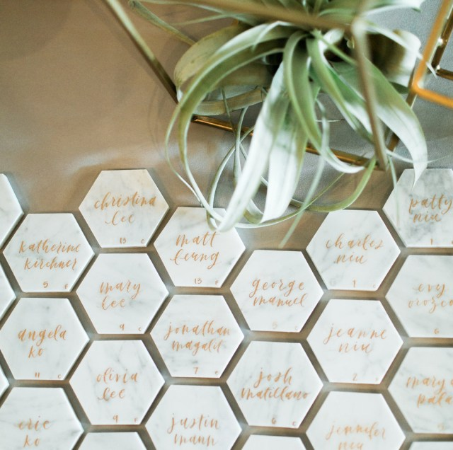Placecards Wedding Diy Diy Marble Hexagon Place Cards Grace Niu Design Wedding