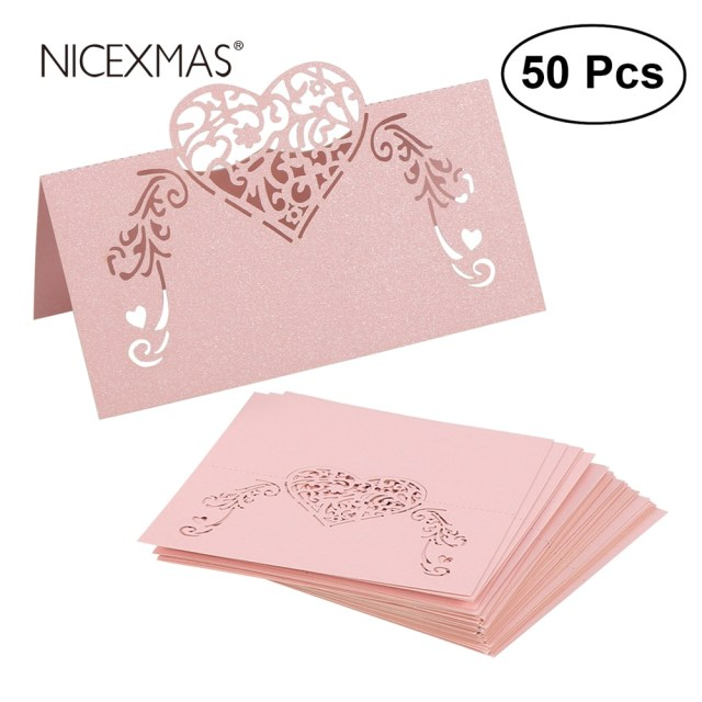 Placecards Wedding Diy Nicexmas 50pcs Laser Cut Heart Shape Place Cards Wedding Name Cards